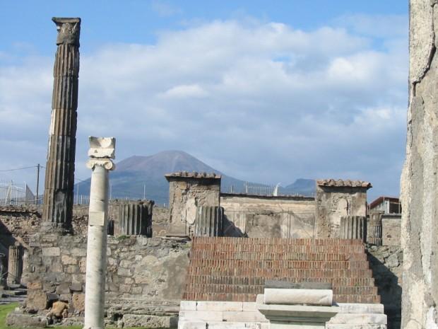 Mt. Vesuvius overlooks the ruins of Pompei