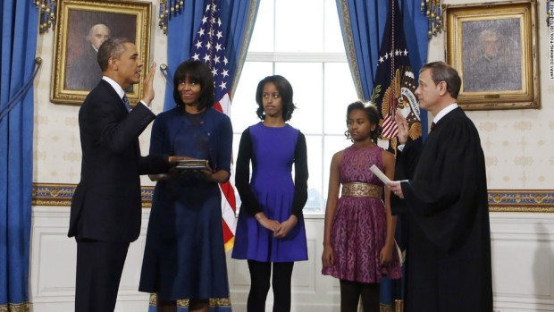 Obama is sworn in during a private ceremony on January 20, 2013
