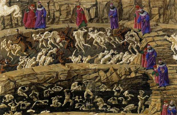 Botticelli's image of Dante's inferno.