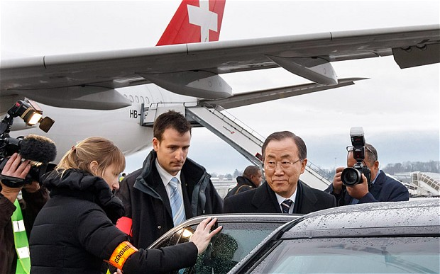 UN Secretary General Ban Ki Moon arrives in Geneva
