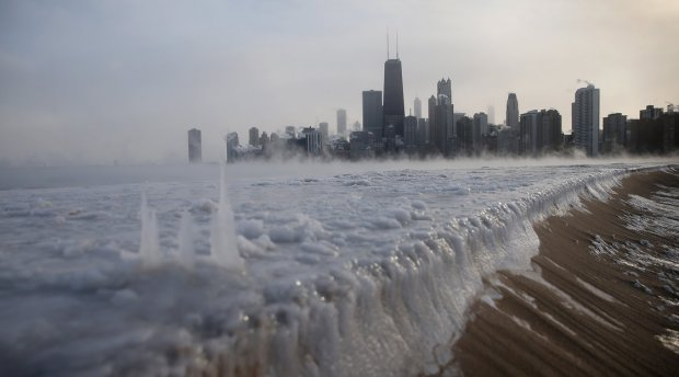 Lake Michigan frozen in Chicago