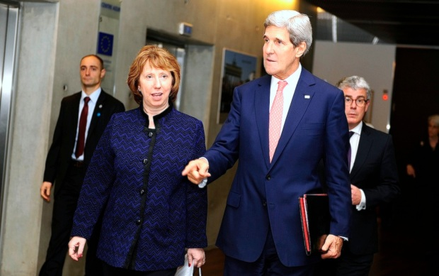 US Secretary of State Kerry and the EU's equivalent to a foreign minister, Catherine Ashton.