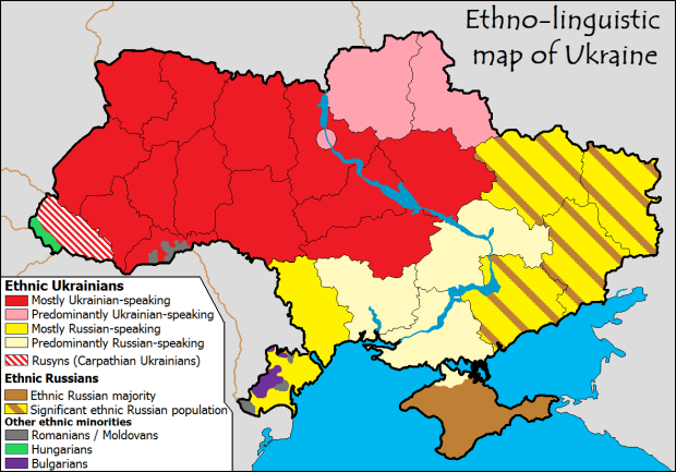 Russians are a majority in the Crimea (brown area in the south)