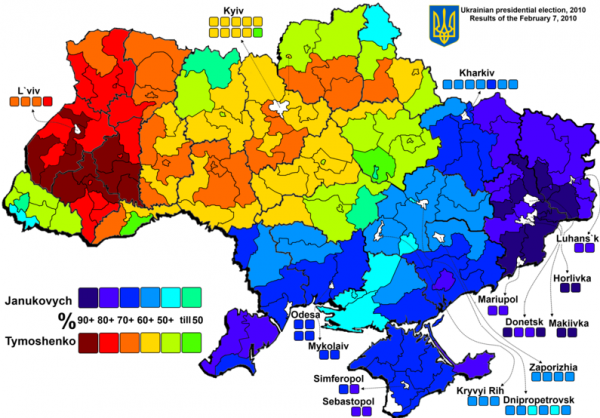 This map, shown in the post yesterday, shows the stark division.  The places with blue or dark blue could well choose to leave Ukraine.