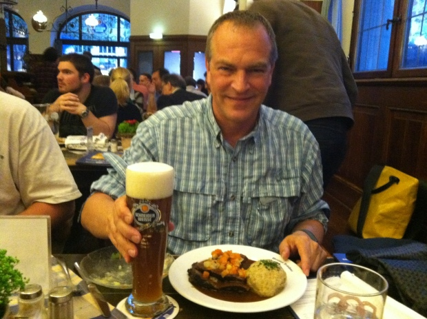 A perfect meal - Muenchner Sauerbraten, Semmelknoedel,and a Schneider Hefe-Weizen (best beer on the planet)