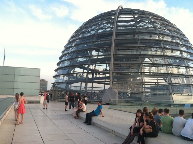 The Reichstag building now has a glass dome at the top to symbolize the new, open, democratic republic of a united Germany