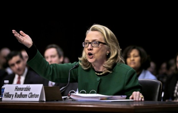 Clinton angrily defended the State Department before Congress