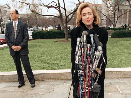 Hillary in 1996 before testifying on the Whitewater scandal.