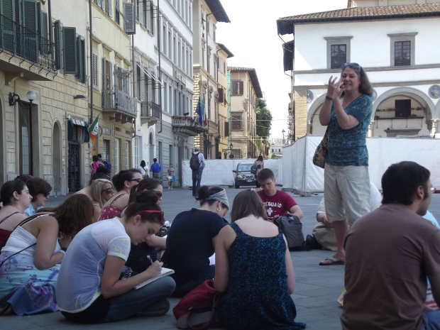 My colleague Luann Yetter during her popular Dante walking tour in Florence