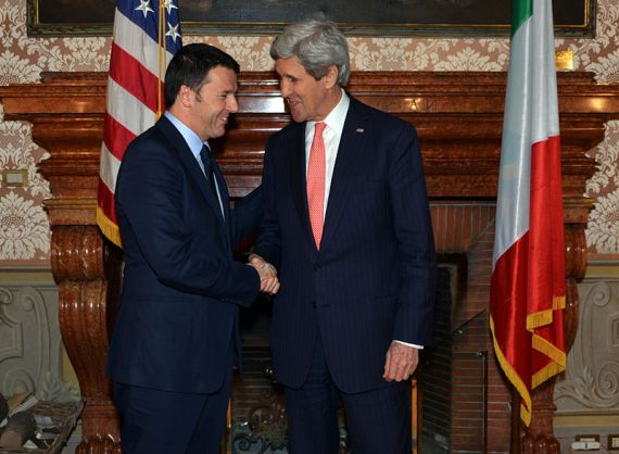 John Kerry pays his respects to Prime Minister Renzi