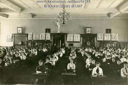 UMF was Farmington State Normal School, teaching future teachers.  Her is a 1914 student assembly