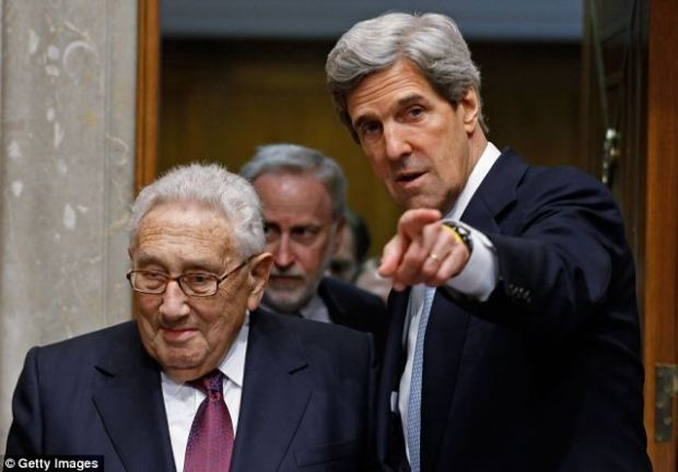 Kissinger with current Secretary of State John Kerry - who led a veterans movement against the Vietnam war while Kissinger was Secretary of State