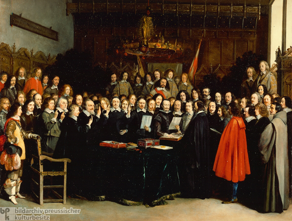 The Peace of Westphalia, ending the 100 years war created the sovereign state - a kind of new thinking that brought peace to Europe after the information revolution caused by the printing press led the old order to disintegrate