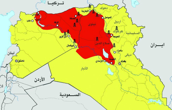 ISIS controlled areas in blood red