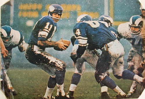 Joe Kapp, in the snow against the LA Rams in the late sixties
