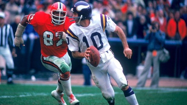 Fran Tarkenton, the original scrambler, changed the position of quarterback and held most career QB records when he retired (most have been since broken)