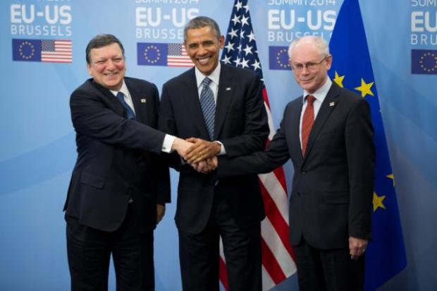 Obama has proven a very effective diplomat.  On his left is European Commission President Jose Manuel Barroso, and European Council President Herman van Rompuy.