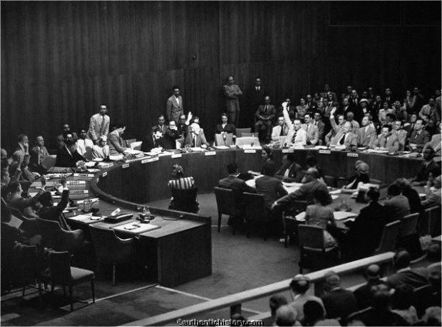 The UN Security council approves US led action to liberate South Korea in 1950.  A Soviet boycott of the council due to the US not seating the Communist government of China on the council allowed approval.