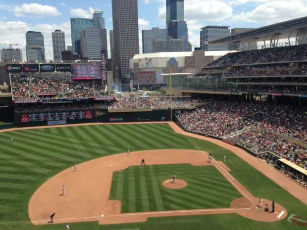 Target Field, with a view of the Target Center