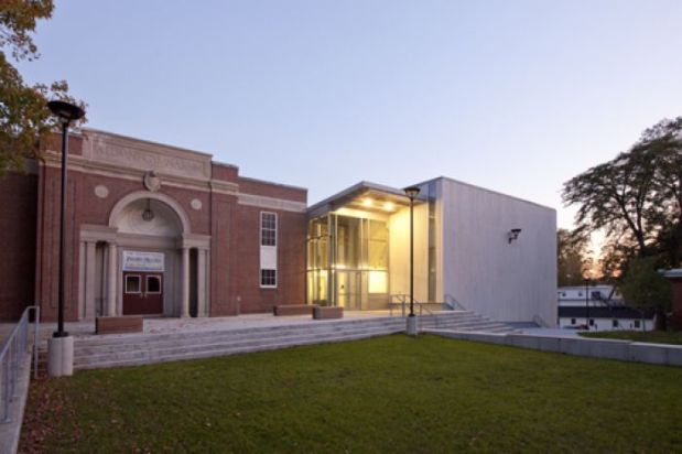 The $5 million Emery Arts Center was built connected to one of the oldest buildings on campus - the Alumni Theater